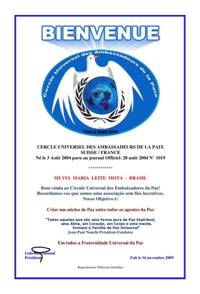 2009 novembro 16 - Cercle Universel des Ambassadeurs de la Paix - Suisse / France