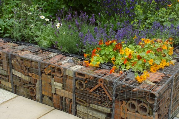 Retaining wall, insect hotel