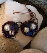 Lapis and faux pearl earrings