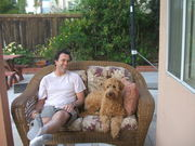 brendan and coopies on patio