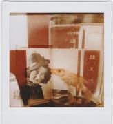 doppia esposizione con foto di donna e pesce