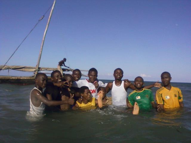 Bagamoyo tours, Isaack joackim with his fellow students