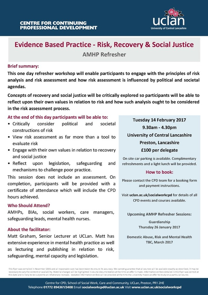 Evidence Based Practice AMHP Refresher 14.02.17