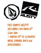 VOLCOM AND RUSTY SAMPLE SALE