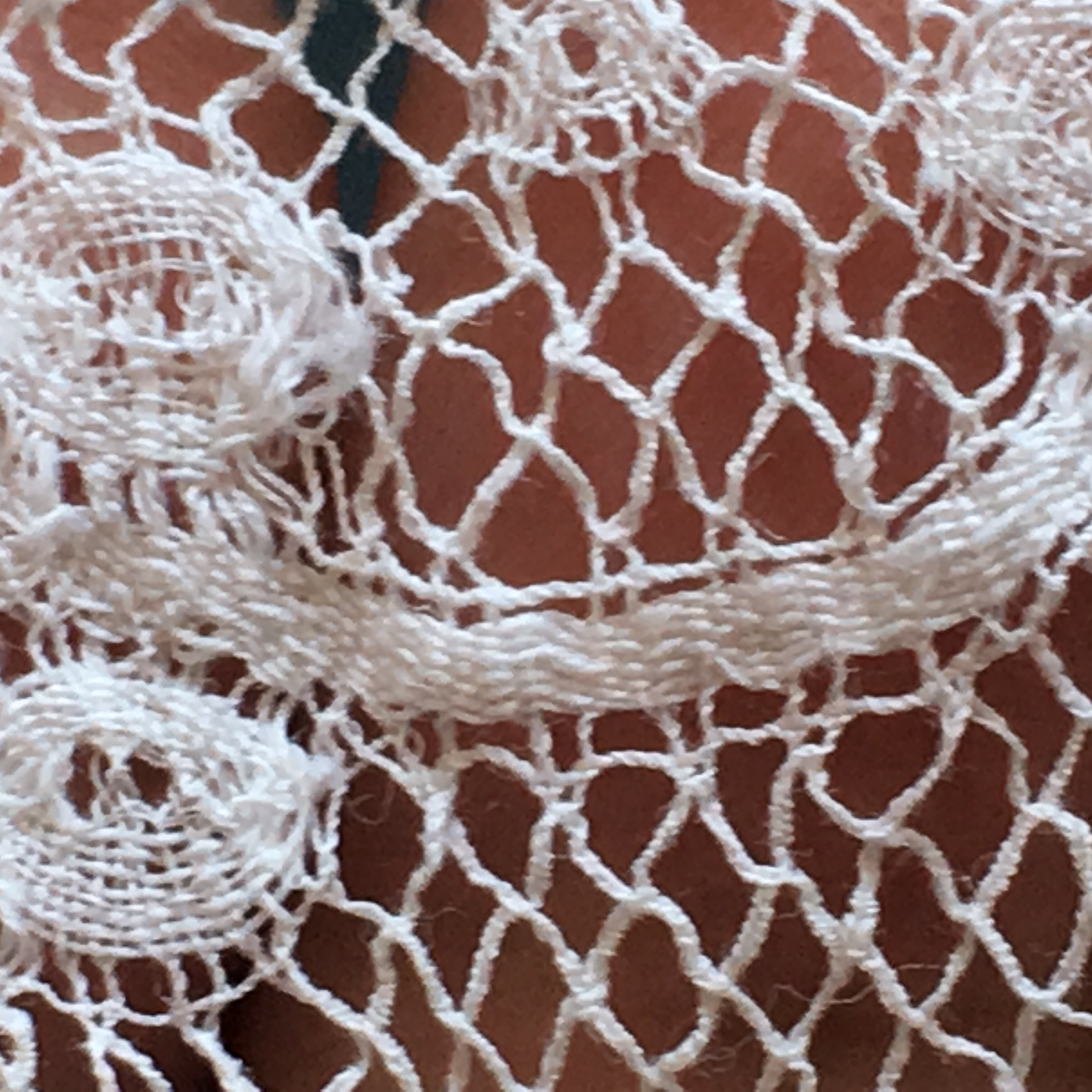 Close up photo of the lace trim of the gown