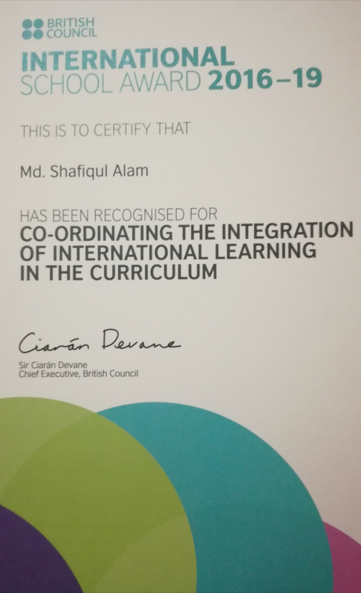 International School Award certificate