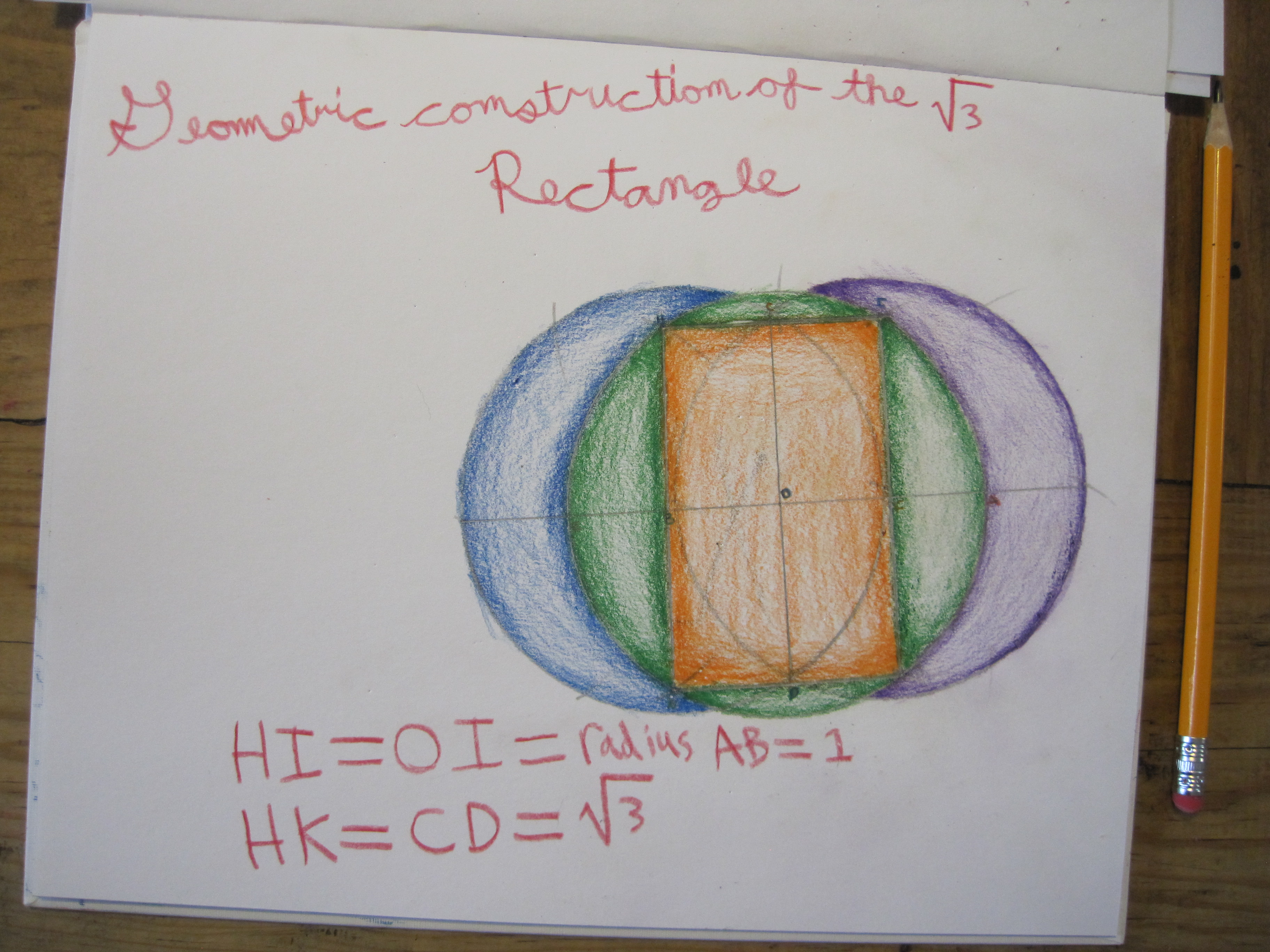 Geometric Construction of the Root Three Rectangle