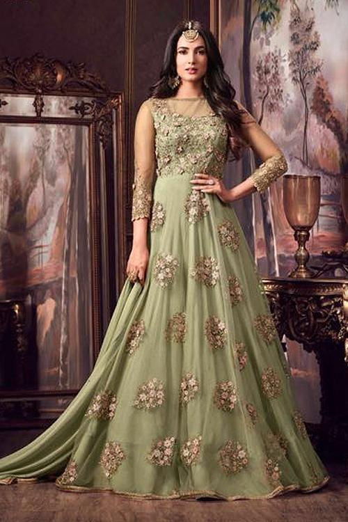 Designer Net Anarkali Suit With Floral Embroidery