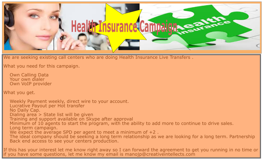 US Health  Insurance Live Transfer Campaign