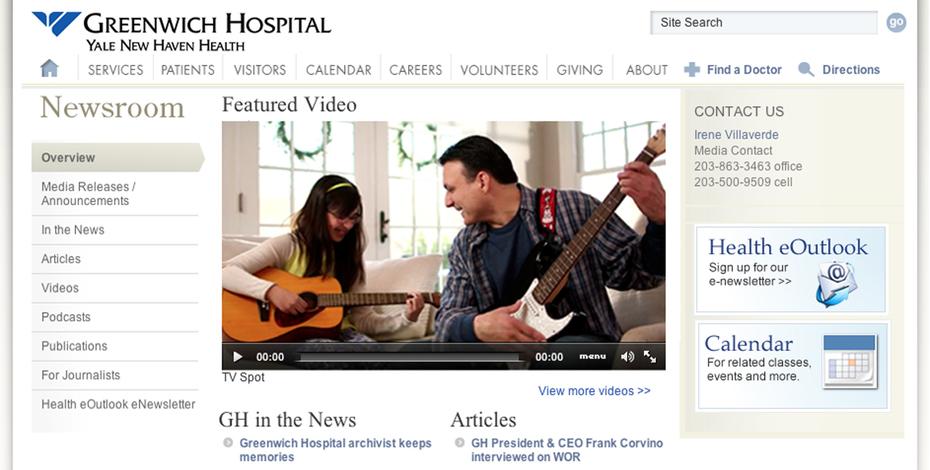 Greenwich Hospital News page