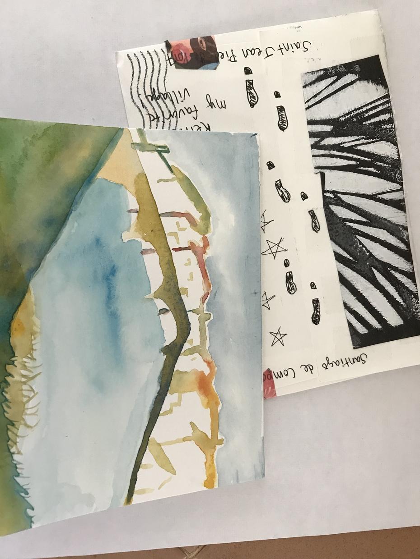 Original Watercolor- Puente la Reina, Spain by Jane Marlin