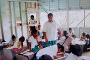 Banaban students in Class using old BPC filing cabinets for desks1997