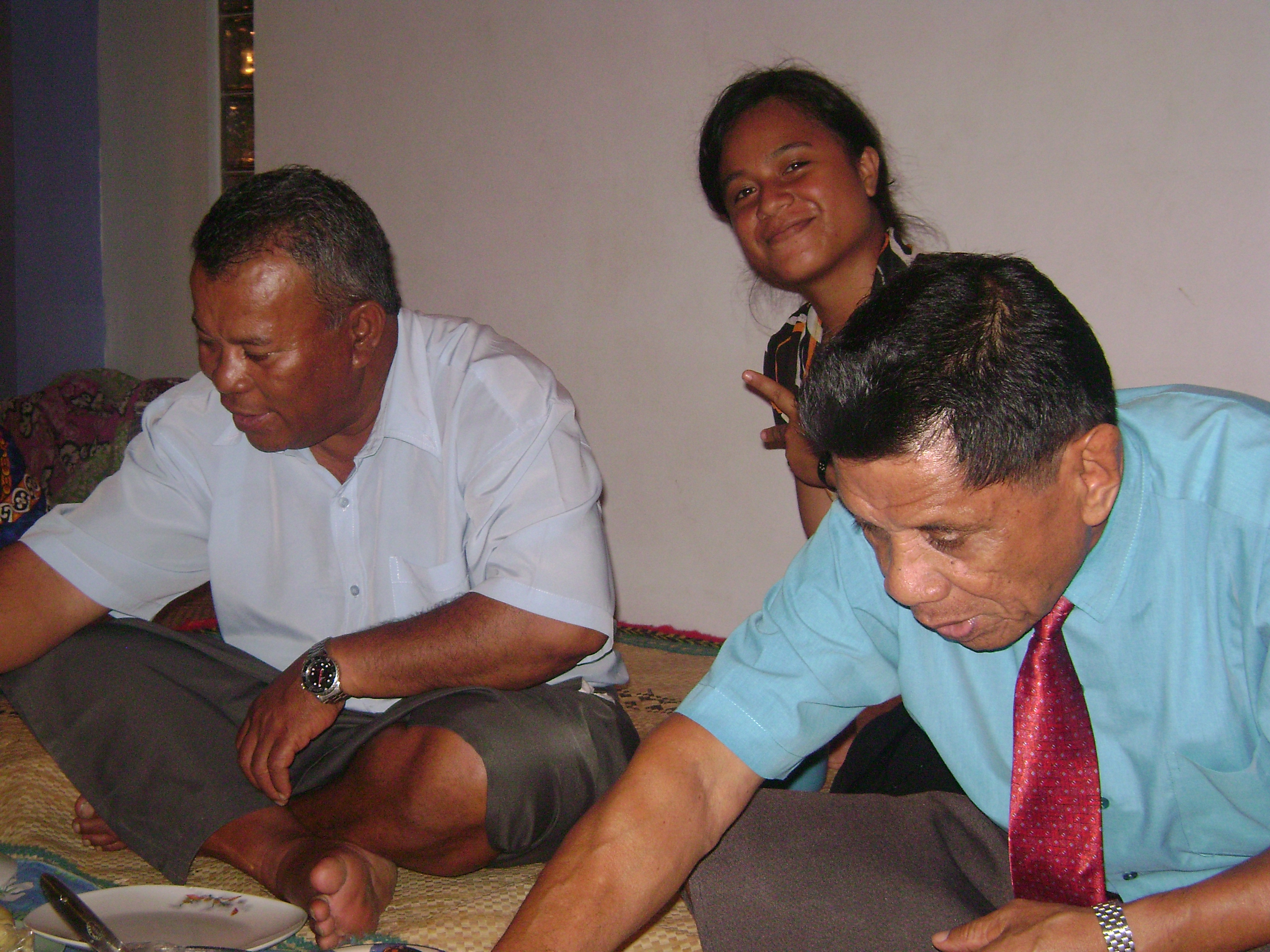 The late Rev Ofati n Rev Ekeaua with Buti Taratai at Kiribati High Comm residence..