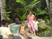 Bernie with her children in Samoa