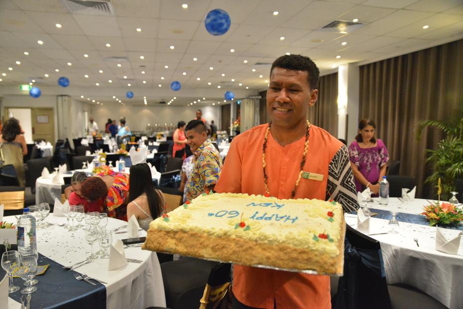 60th Bithday Cake - Strawberry Gateau 20inch Sq