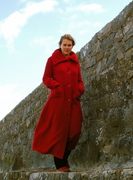 long fitted coat in red