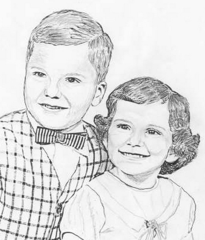My brother and myself when young  sketch by Marique