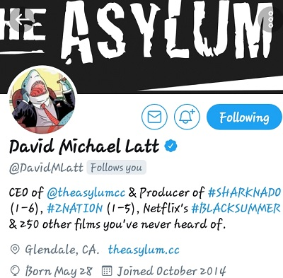 "PRODUCER OF THE MOVIE & TV SHOW SHARKNADO & ZNATION... ""DAVID MICHAEL LATT"" YOUNG GIFTED THX YOU 4 THE SUPPORT!! https://m.facebook.com/story.php?story_fbid=619988851514029&id=100005087594628   https:"