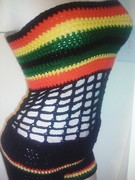 Rasta Tube Top With Matching Shorts