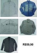 camisas em tecidos plano