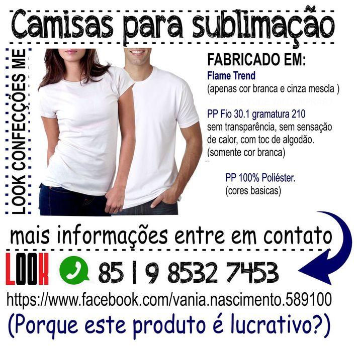 CAMISAS LISAS PARA SUBLIMAÇÃO LOOK CONFECÇÕES