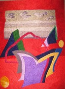 Shapes and colors circa 1979 thread painting by Dina Kassel