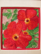 Poppies by Georgia O Keef interpreted in threads by Dina Kassel