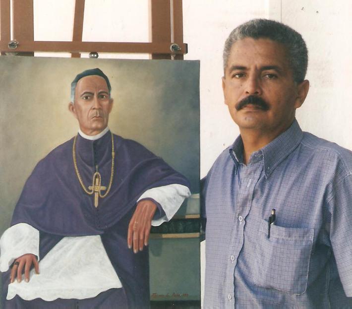 EL MAESTRO DE LA PINTURA VENEZOLANA ING. FREDDY G. PEÑA JUNTO A SU OBRA.