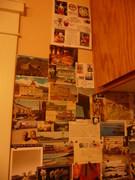 recieved mail art on my kitchen walls