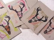 deer skull postcards