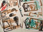 bear and bird skull postcards