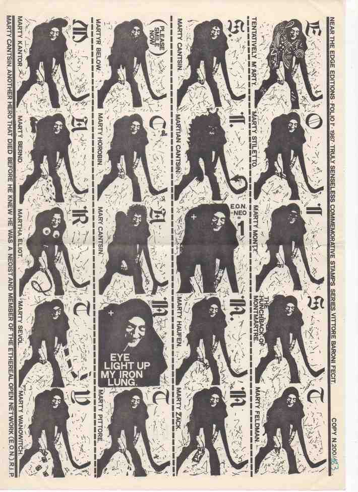 Vittore Baroni Marty Cantsin Neoist Commemorative Stamps, 1987