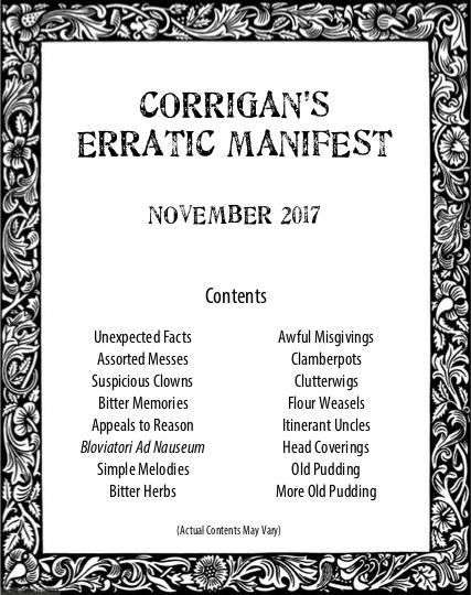 Corrigan's Erratic Manifest s01e01 - November 2017 cover