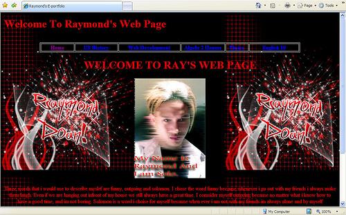 Ray, Grade 10, 2007-2008, Eportfolio home page.