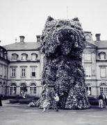 dog topiary from front