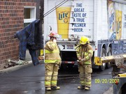 truck into building