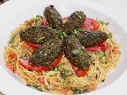 Spinach Herb Gnocchi over Pasta Marinara