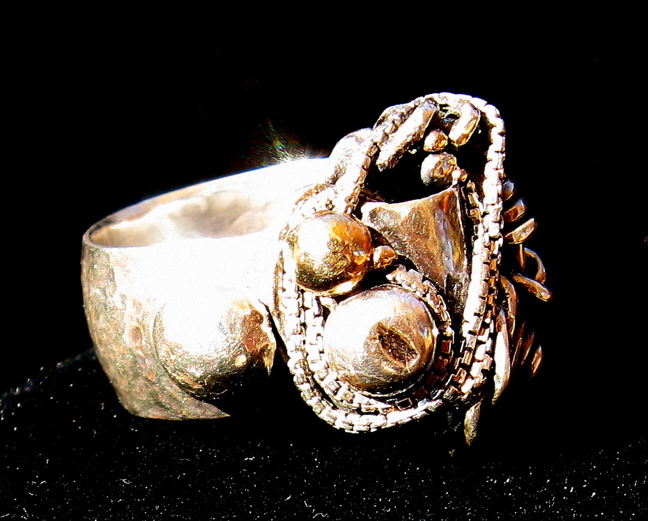 Unique Embossed Wide Band Sterling Ring with Gold, Silver Accents Plus Lots of Extra Wirework