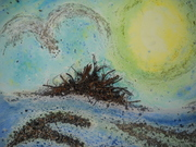 Kinney, Island, Muscongus Bay, Maine, found beach and forest materials, watercolor, acrylic medium, 22 x 30' 2009, $1200