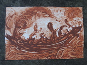 Earth Boat, 15 x 22 (unframed), Asheville red earth, 2010, $600