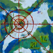 """5_Cantwell_K_Time Zone, encaustic, 12""""x12"""", 2014"""
