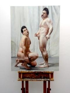 Twinings, double self portrait series, oil on panel