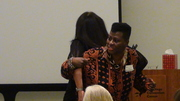 M.I.S.S. 2013 Awareness Conference in San Diego, Motivational Speaker Bettye Adams demonstrating how the M.I.S.S. members should lean on each other for moral support...