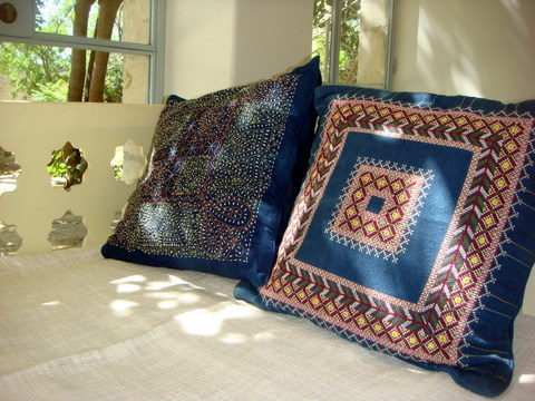 Nogaya embroidered cushions with delicate mirror inlays