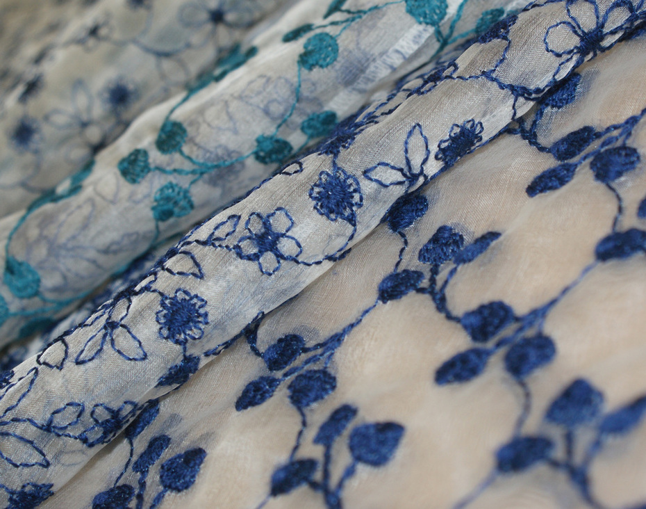 Modespitze Germany - GOTS certified embroidery - Ahimsa peace silk organza embroidered with colored cotton