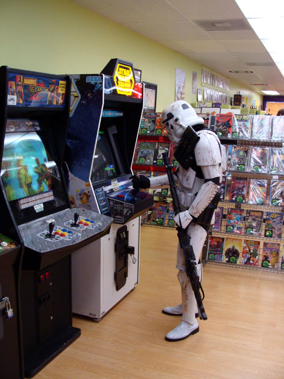 Storm trooper at play