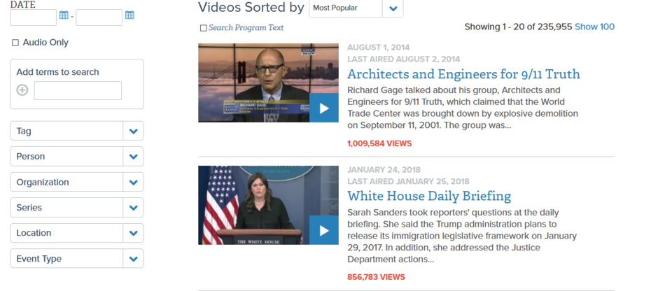 You'll Never Believe What the Most Popular Video To Date on C-span Online Is !
