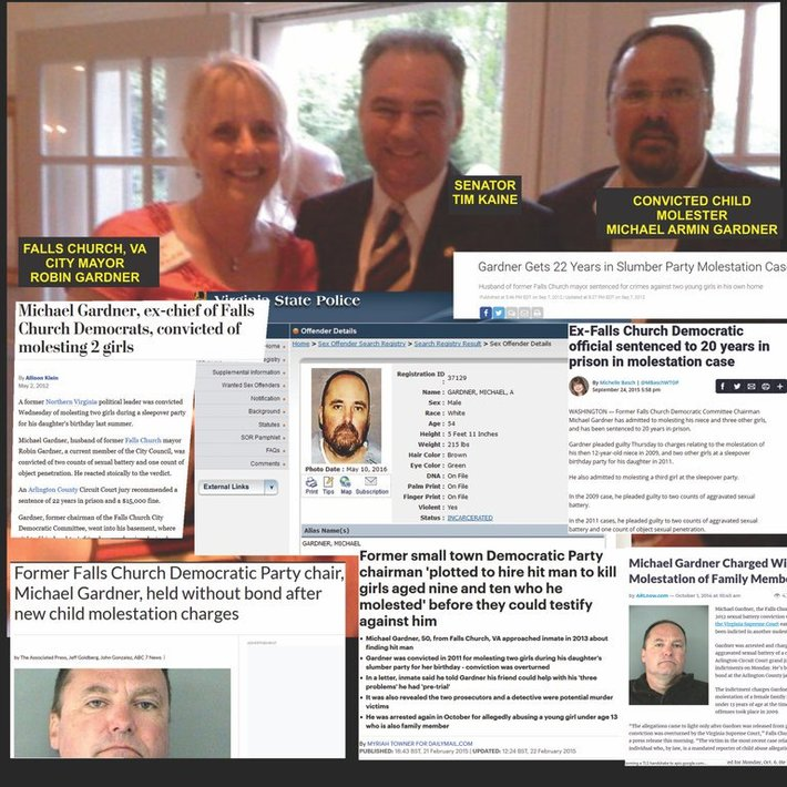 Tim Kaine fundraiser at home of convicted child molester and former head of local Democrat Party.