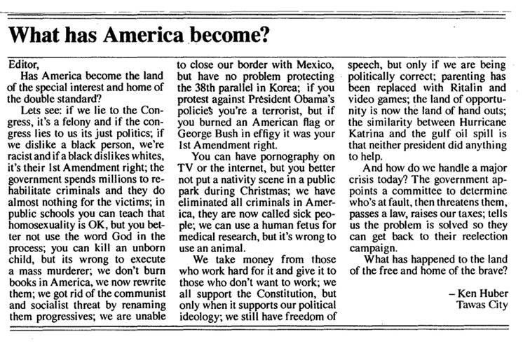 THIS IS FROM A SMALL MICHIGAN NEWSPAPER WHO HAD THE GUTS TO SAY WHAT MOST OF THE REST OF US ARE THINKING!!