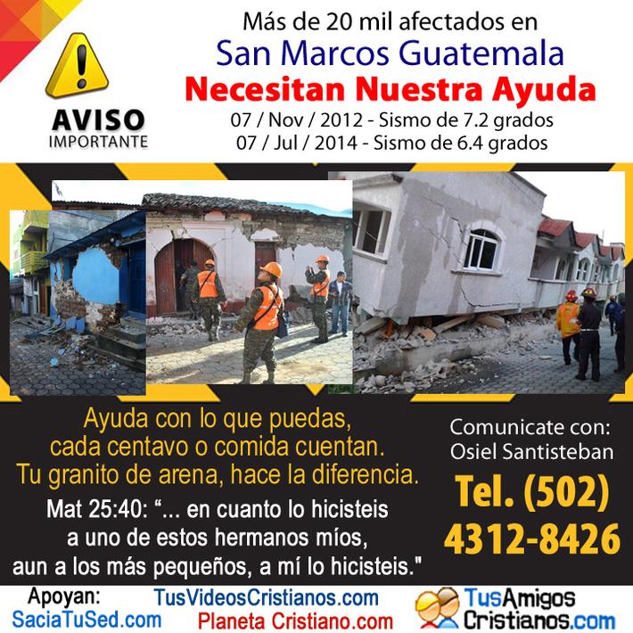 Ayuda afectados por sismo en Guatemala